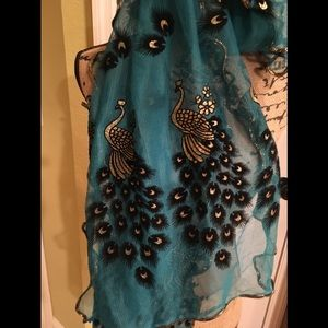 Amazing Scarf or head wrap bling with peacocks
